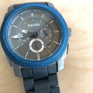 Fossil Blue/Gunmetal Watch